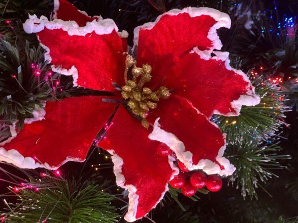 Floare decorativa rosu glitter